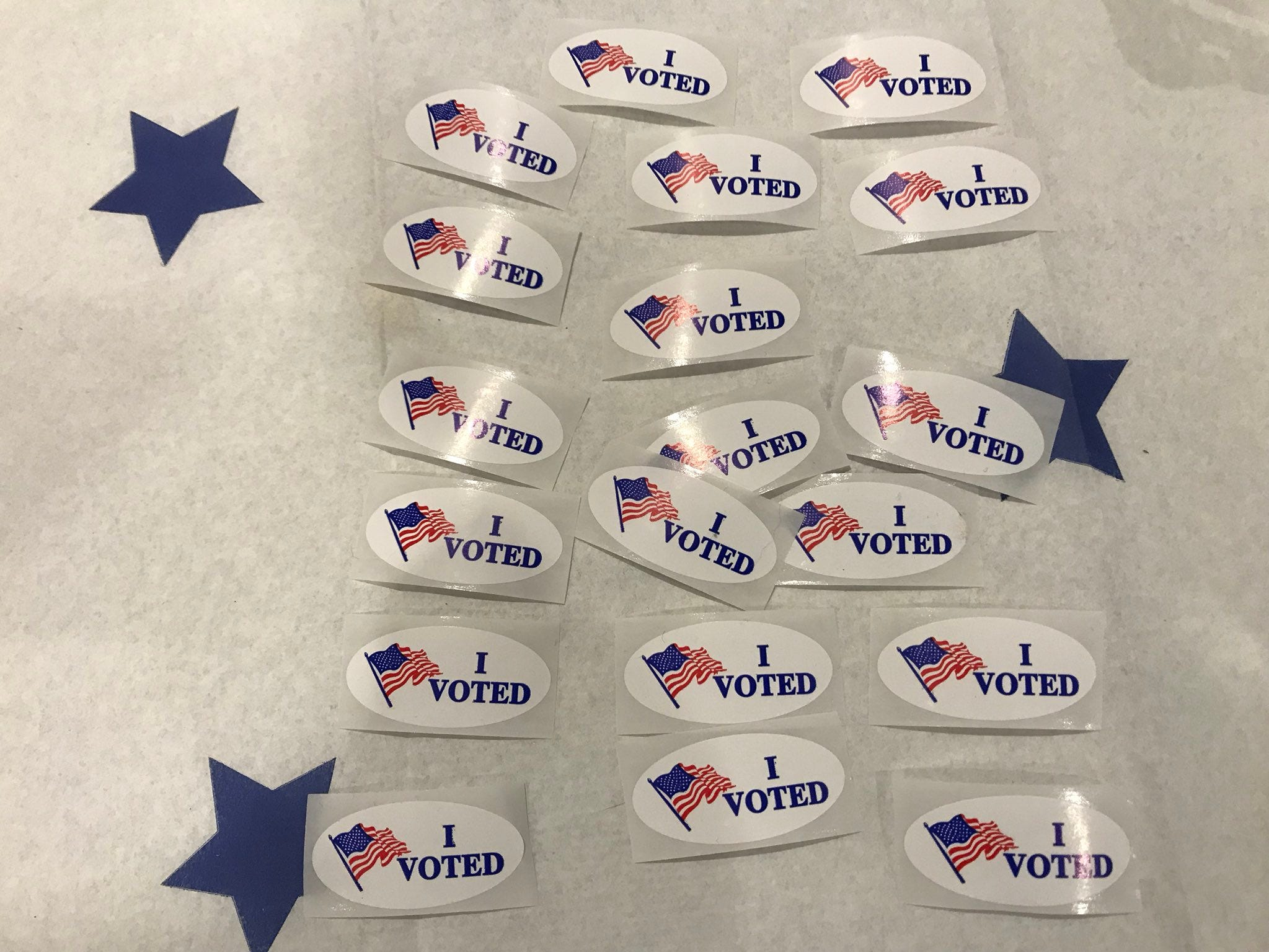 """I voted"" stickers await Shasta County voters after casting ballots on Tuesday, Nov. 6, 2018."