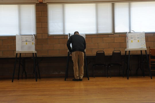 A man voting at the Active Seniors Inc. polling center in Salinas for Tuesday's midterm elections.