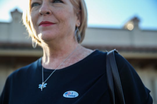 Katherine McFadin voted Tuesday, Nov. 6, 2018, at Transit District Depot.