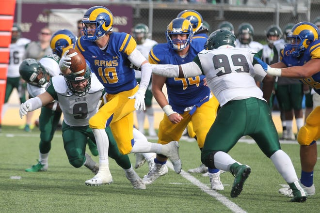 Quarterback Payne Sullins led the Angelo State University football team to a 34-17 victory against Eastern New Mexico at LeGrand Stadium at 1st Community Credit Union Field on Saturday, Nov. 3, 2018.
