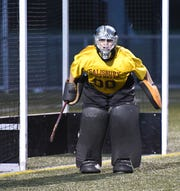 Salisbury University's Field Hockey Goalie Dom Farrace (00) of Pocomoke lead the team to the CAC Championship on Saturday, Nov. 3, 2018. (Photo by Todd Dudek for The Daily Times)