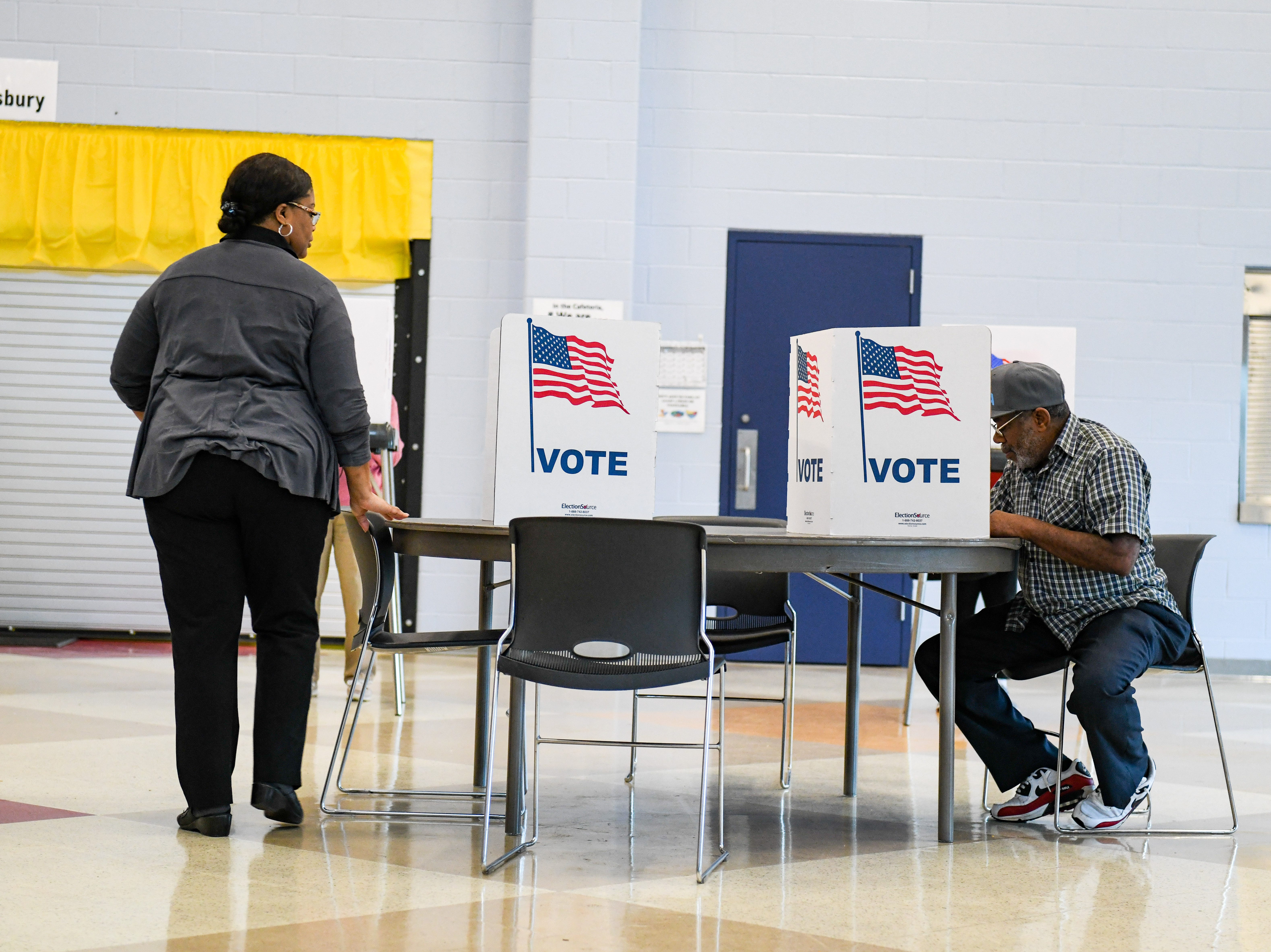Walter Torchon votes in the midterm election at North Salisbury Elementary School on Tuesday, Nov 6, 2018.