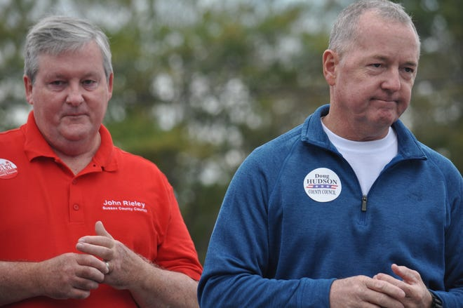 Republican Sussex County Council candidates John Rieley (left) and Doug Hudson speak at a stop on U.S. Senate candidate Rob Arlett's campaign tour on Oct. 20, 2018.