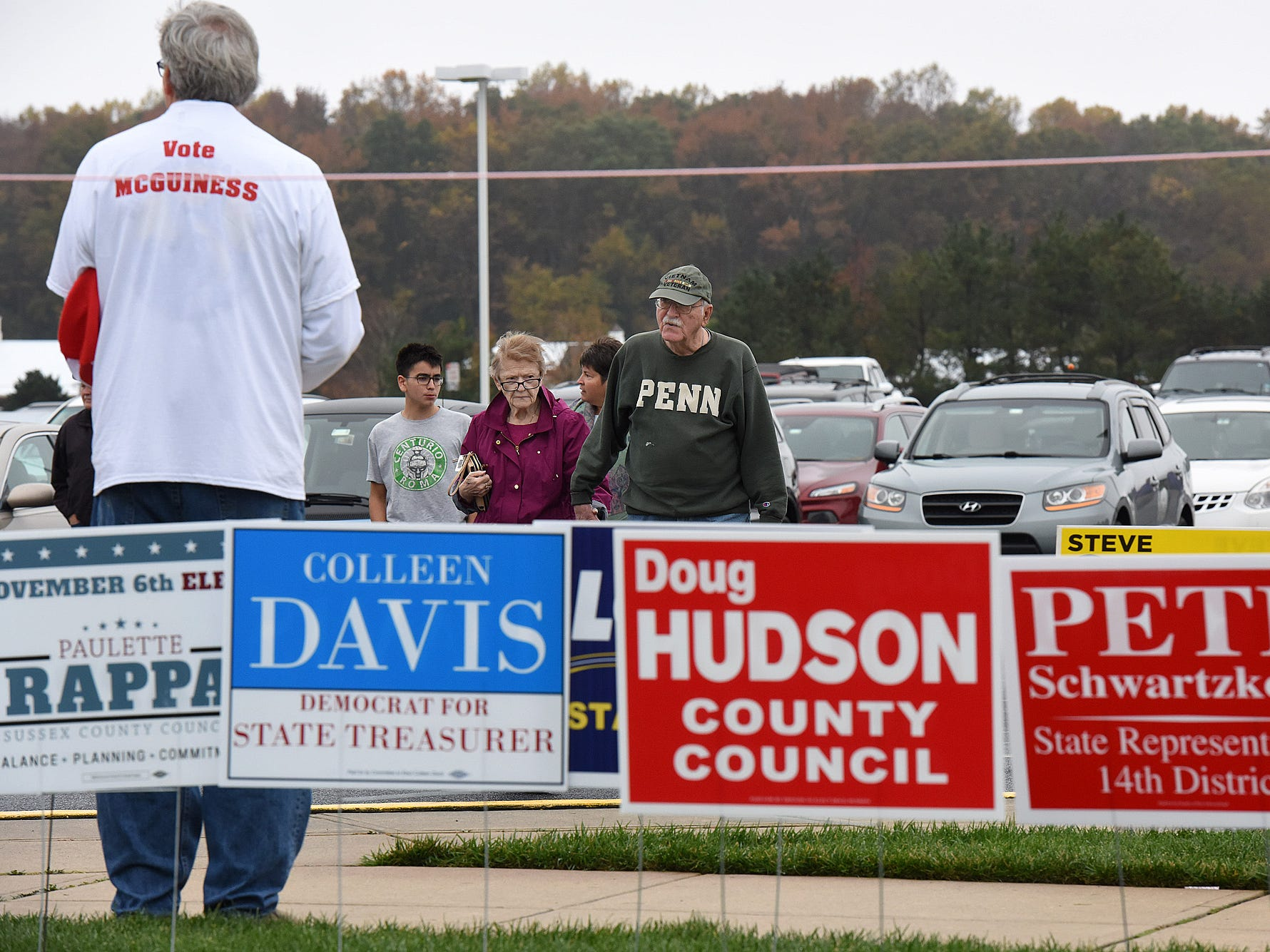 Voter turnout in eastern Sussex County has been steady at polling places in Rehoboth, Roxana and Angola as candidates still greet supporters for their support.