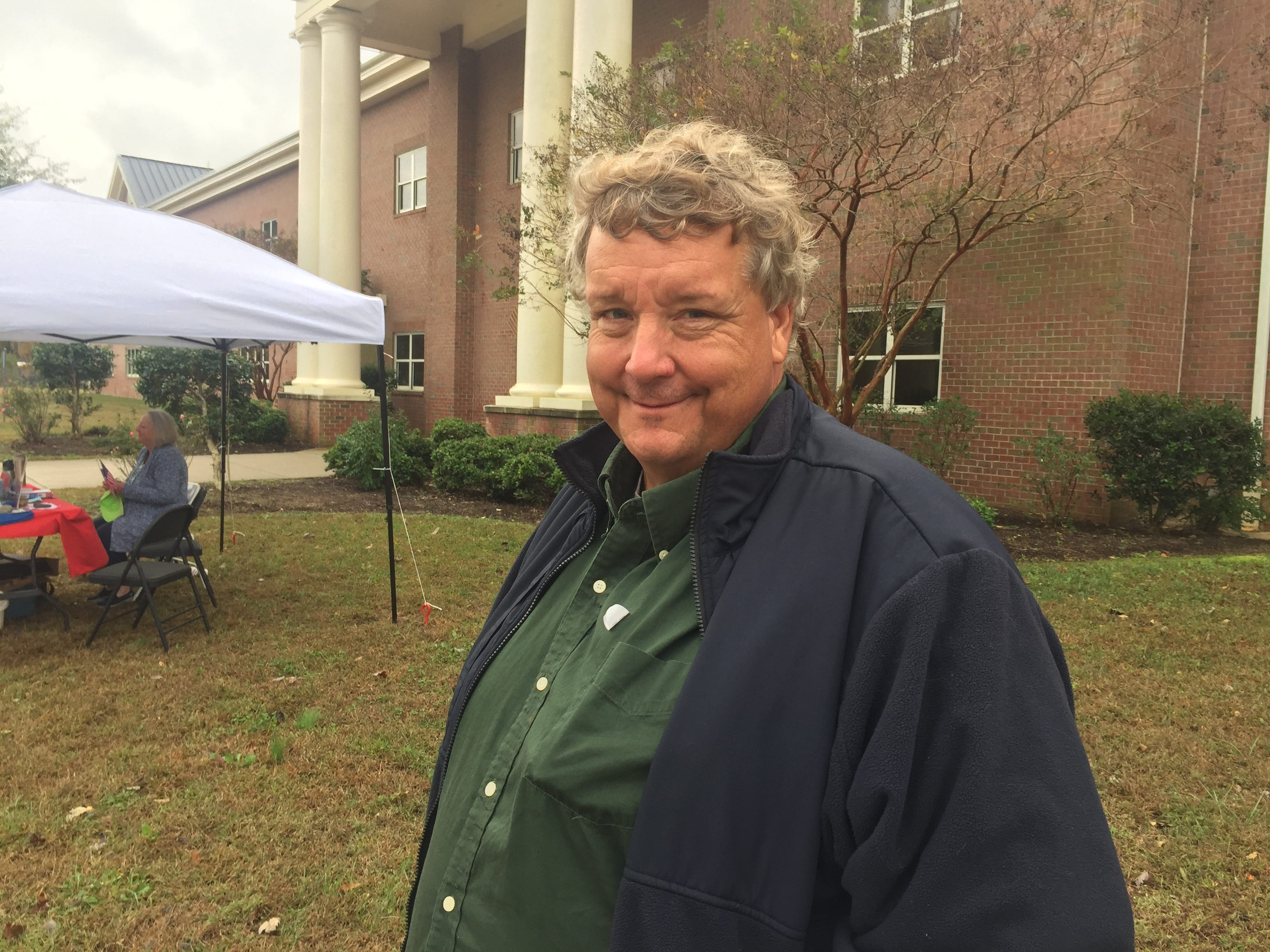 Onley mayoral candidate Bill Ferguson stands outside the polling place at Nandua Middle School in Onley, Virginia on Tuesday, Nov. 6, 2018.