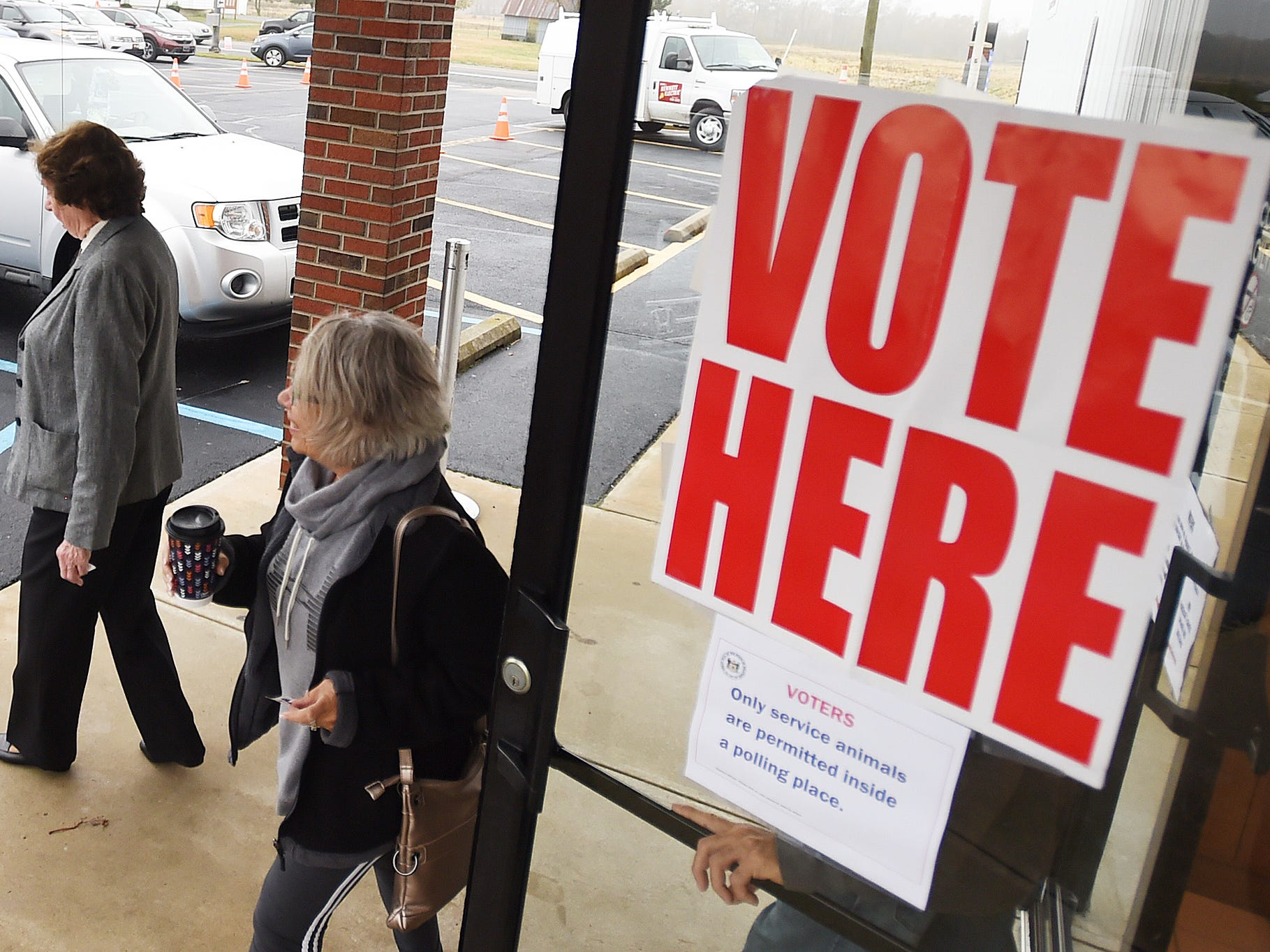Roxana Fire Station had many voters as turnout in eastern Sussex County has been steady at polling places in Rehoboth, Roxana, and Angola as candidates still greet supporters for their support.