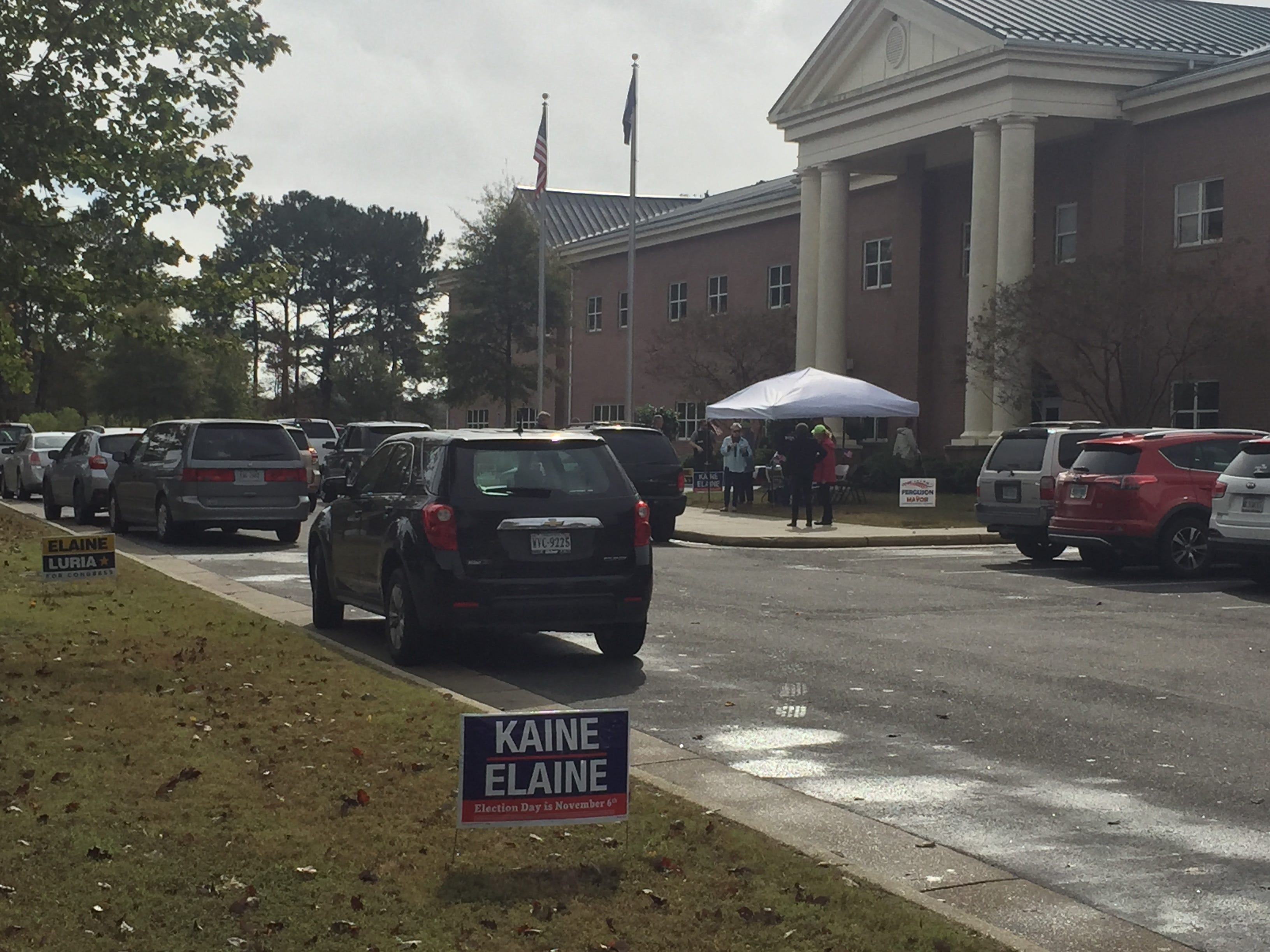 The polling place at Nandua Middle School in Onley, Virginia is bustling around noon on Election Day, Tuesday, Nov. 6, 2018.