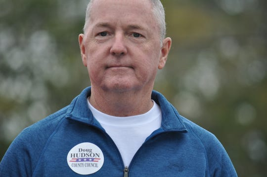 Sussex County Council District 4 candidate Doug Hudson, a Republican, speaks at a stop on U.S. Senate candidate Rob Arlett's campaign tour on Oct. 20, 2018.