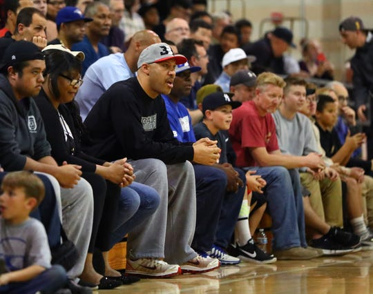 Feb 5, 2017; Rancho Cucamonga, CA, USA; LaVar Ball , father of Chino Hills guard LaMelo Ball (not pictured) against the Rancho Cucamonga Cougars at Rancho Cucamonga High School. Mandatory Credit: Mark J. Rebilas-USA TODAY Sports