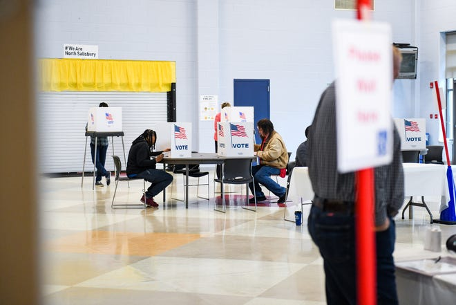 Residents vote in the midterm election at North Salisbury Elementary School on Tuesday, Nov 6, 2018.