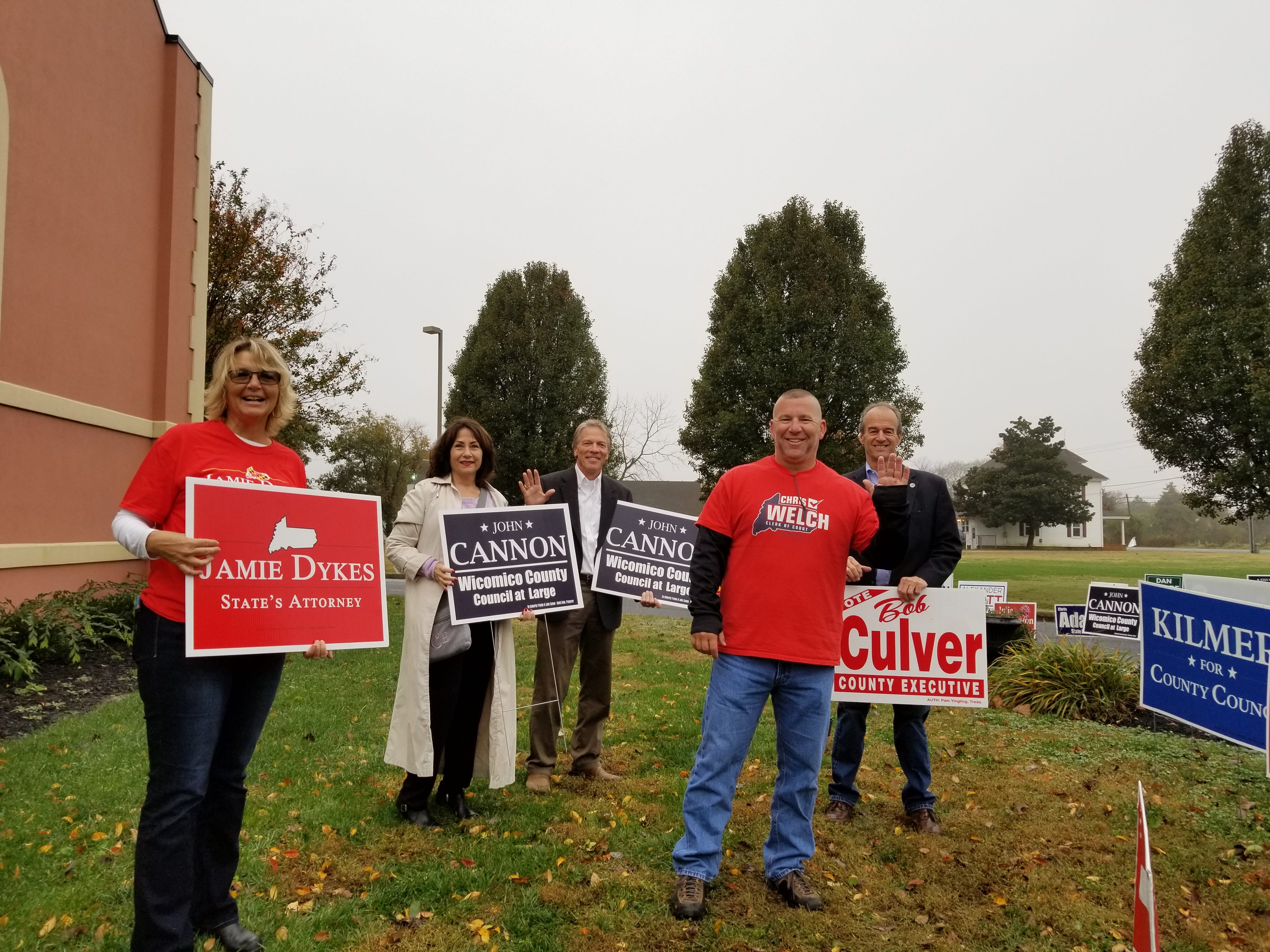 A group of Republican candidates and supporters stand outside Crosse Pointe Church of the Nazarene on Nanticoke Road in Salisbury Election Day morning, including from left a Jamie Dykes supporter, Laurie and John Cannon, Chris Welch and Bob Culver.