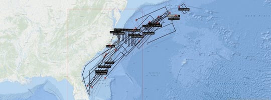 This Coast Guard map shows the extensive search conducted for Hugh Blankenship along the East Coast.
