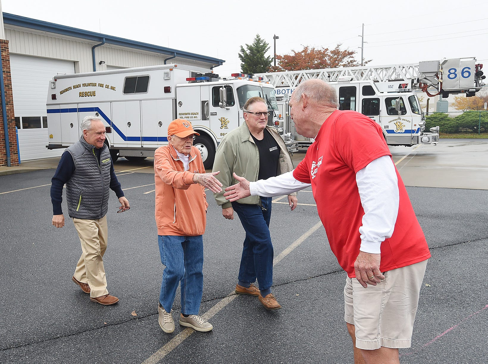 House Speaker Pete Schwartzkopf greets voters leaving Fire Station 2 in Rehoboth Beach as Voter turnout in eastern Sussex County has been steady at polling places in Rehoboth, Roxana, and Angola as candidates still greet supporters for their support.