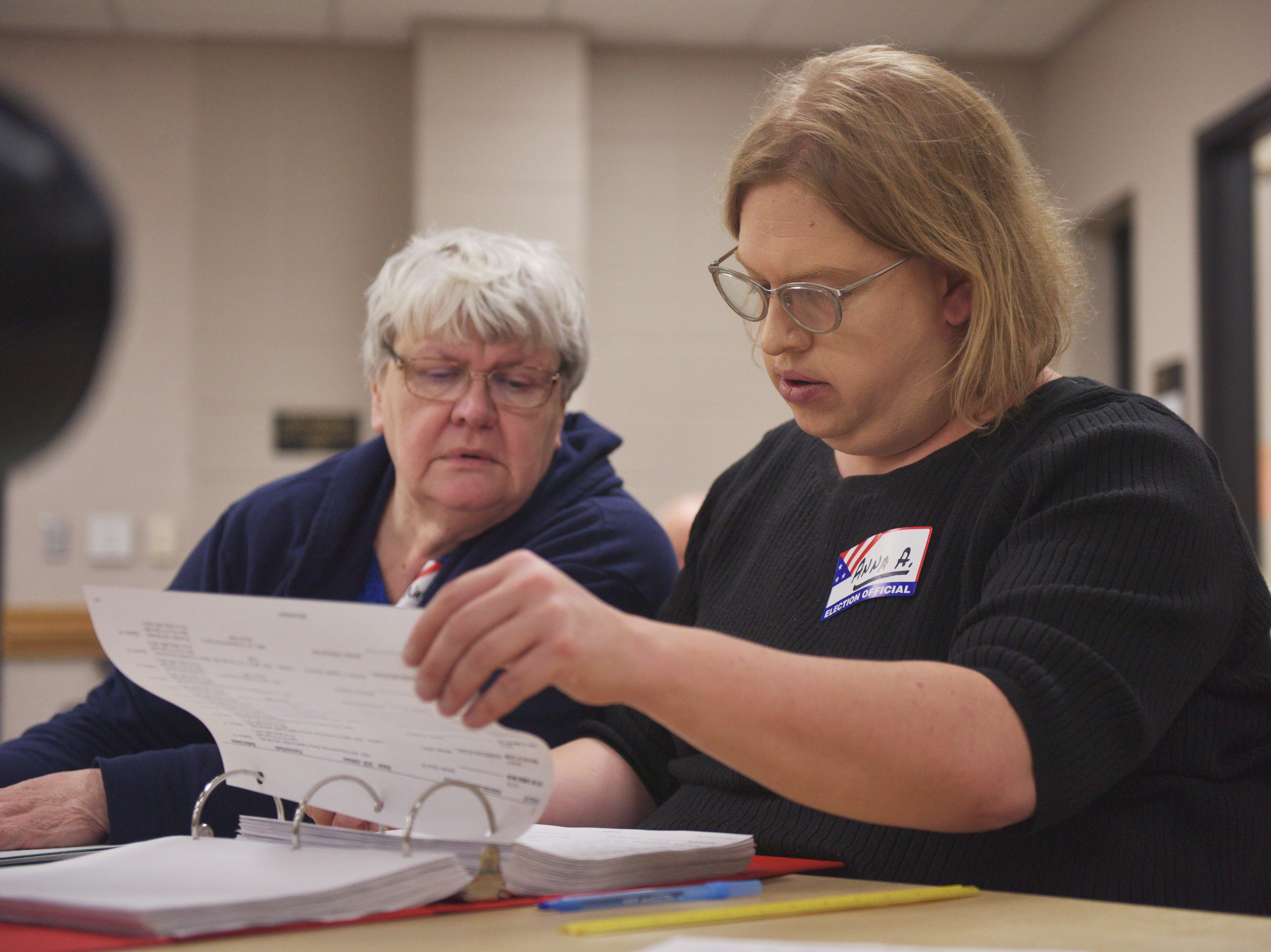 Poll workers Anna Amundson and Natalie Lavender looks up a voter as they walk into the polling place for the 2018 midterm elections Tuesday, Nov. 6, at First Lutheran Church in Sioux Falls.