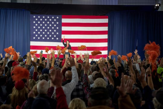 Kristi Noem speaks at a Rapid City rally on Nov. 5, 2018.