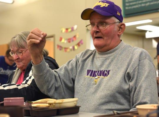 Dwight Jensen eats at The Banquet, Thursday, Nov. 1, 2018 in Sioux Falls, S.D.