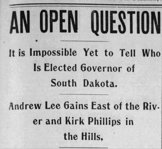 Argus Leader headline from Nov. 9, 1898.