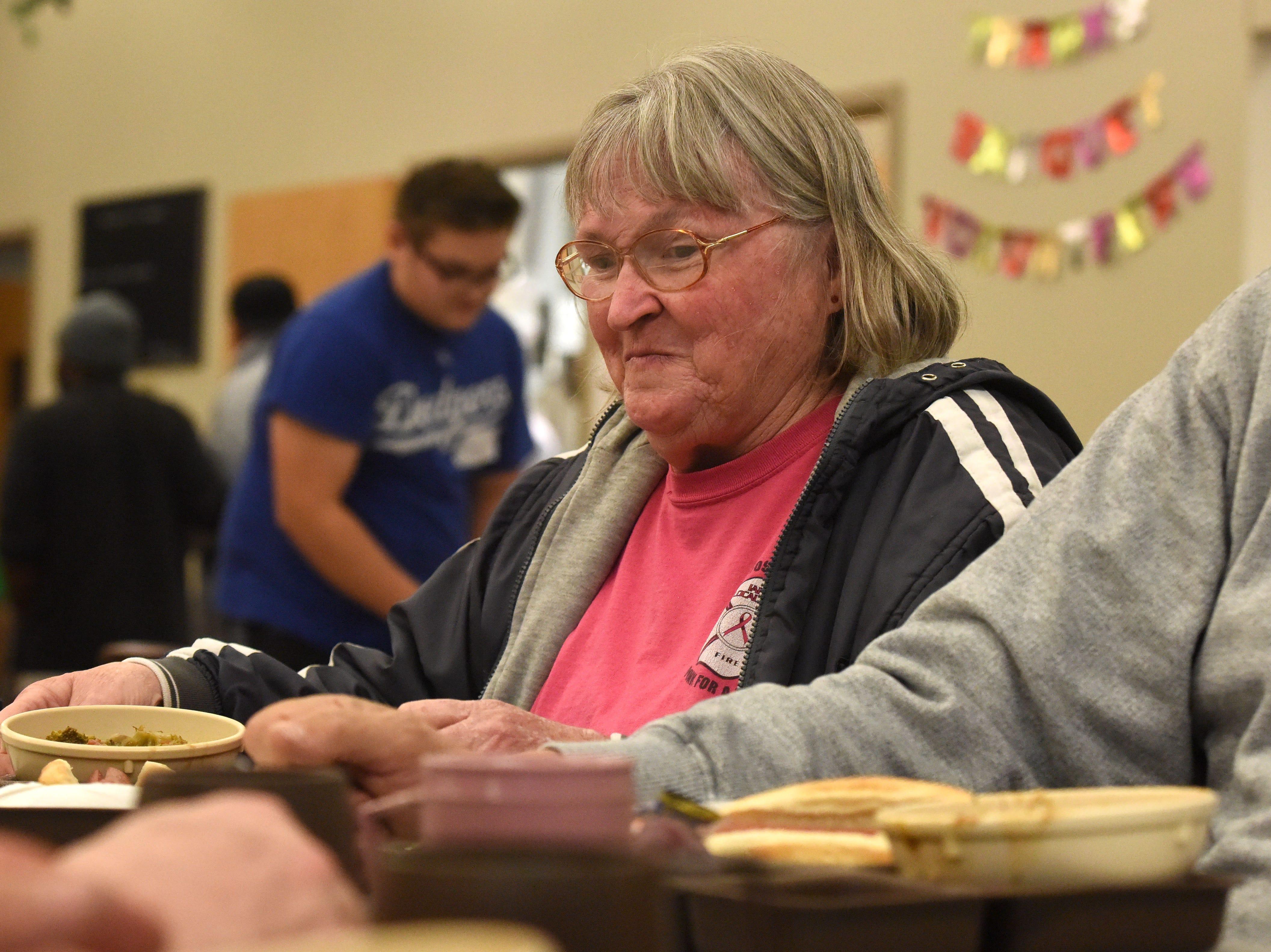 Audrey Jensen eats at The Banquet, Thursday, Nov. 1, 2018 in Sioux Falls, S.D.