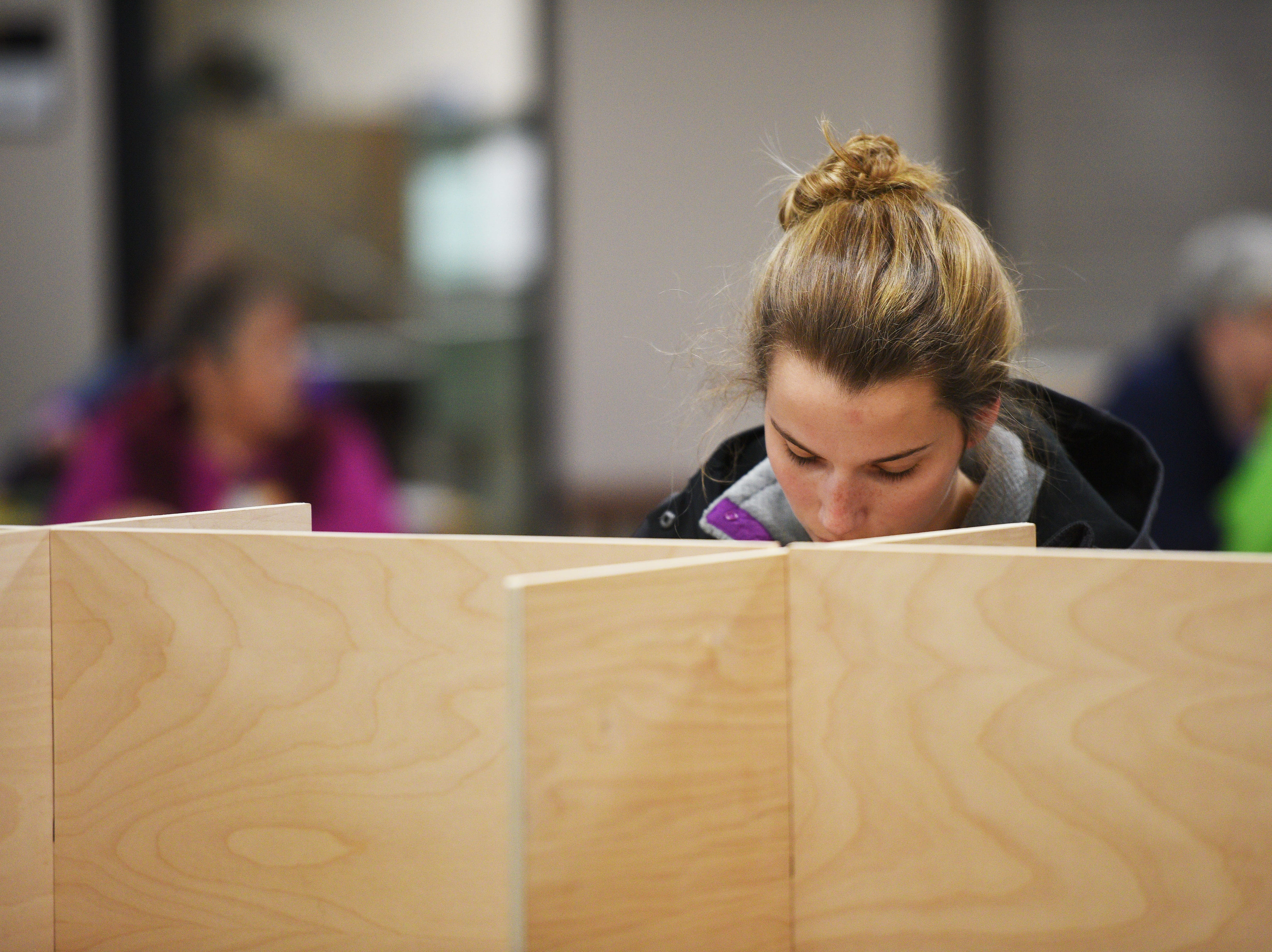 Maria Harrington votes in the 2018 midterm elections Tuesday, Nov. 6, at First Lutheran Church in Sioux Falls.