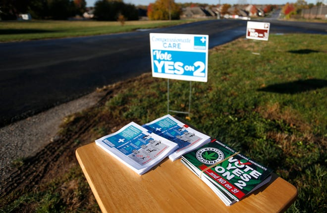 Amendment 2 information on a table near the Hickory Hills School polling location on Tuesday, Nov. 6, 2018.