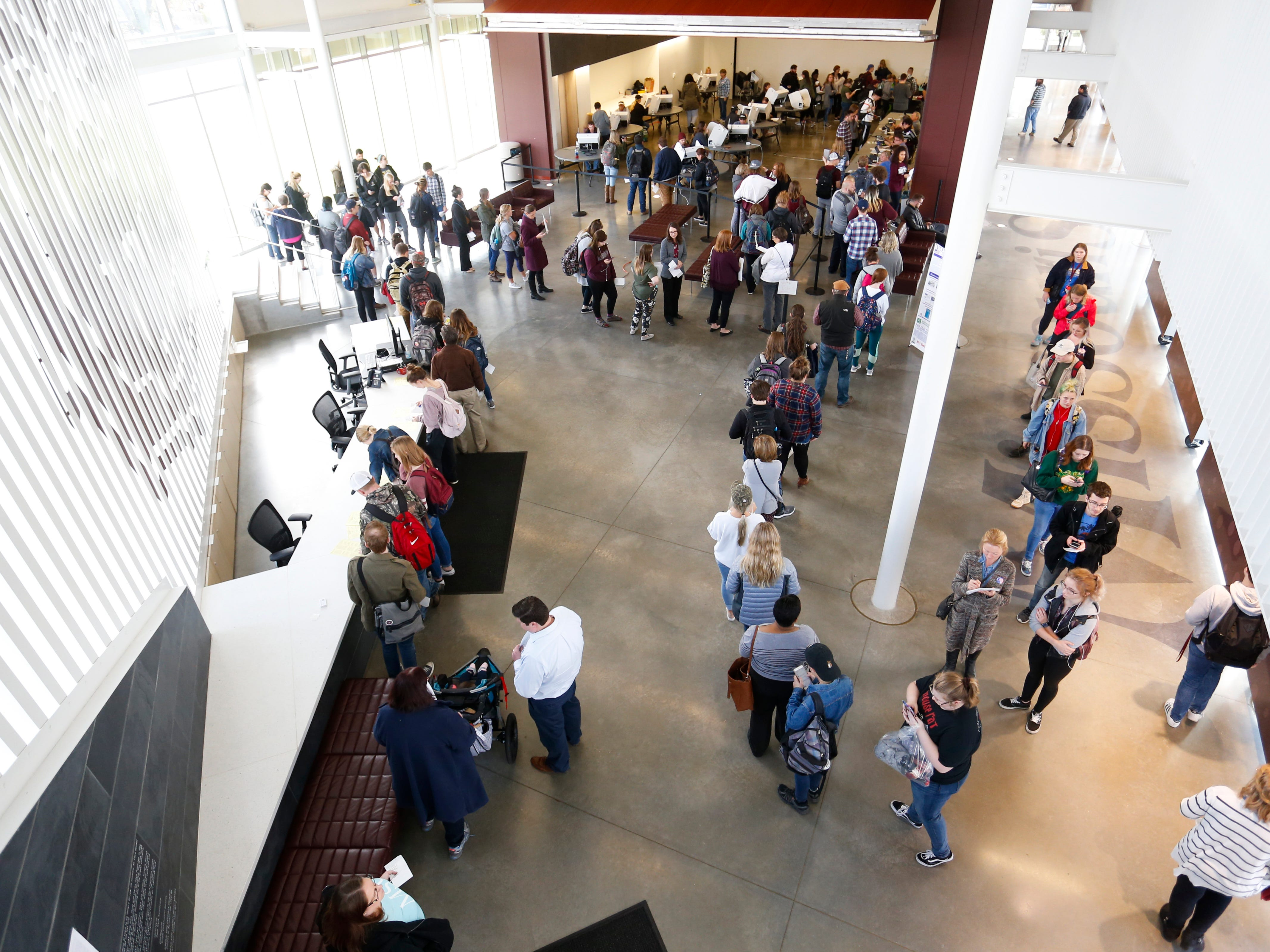 Voters line up at the central polling at the Missouri State University Davis-Harrington Welcome Center to cast their ballots on Tuesday, Nov. 6, 2018.