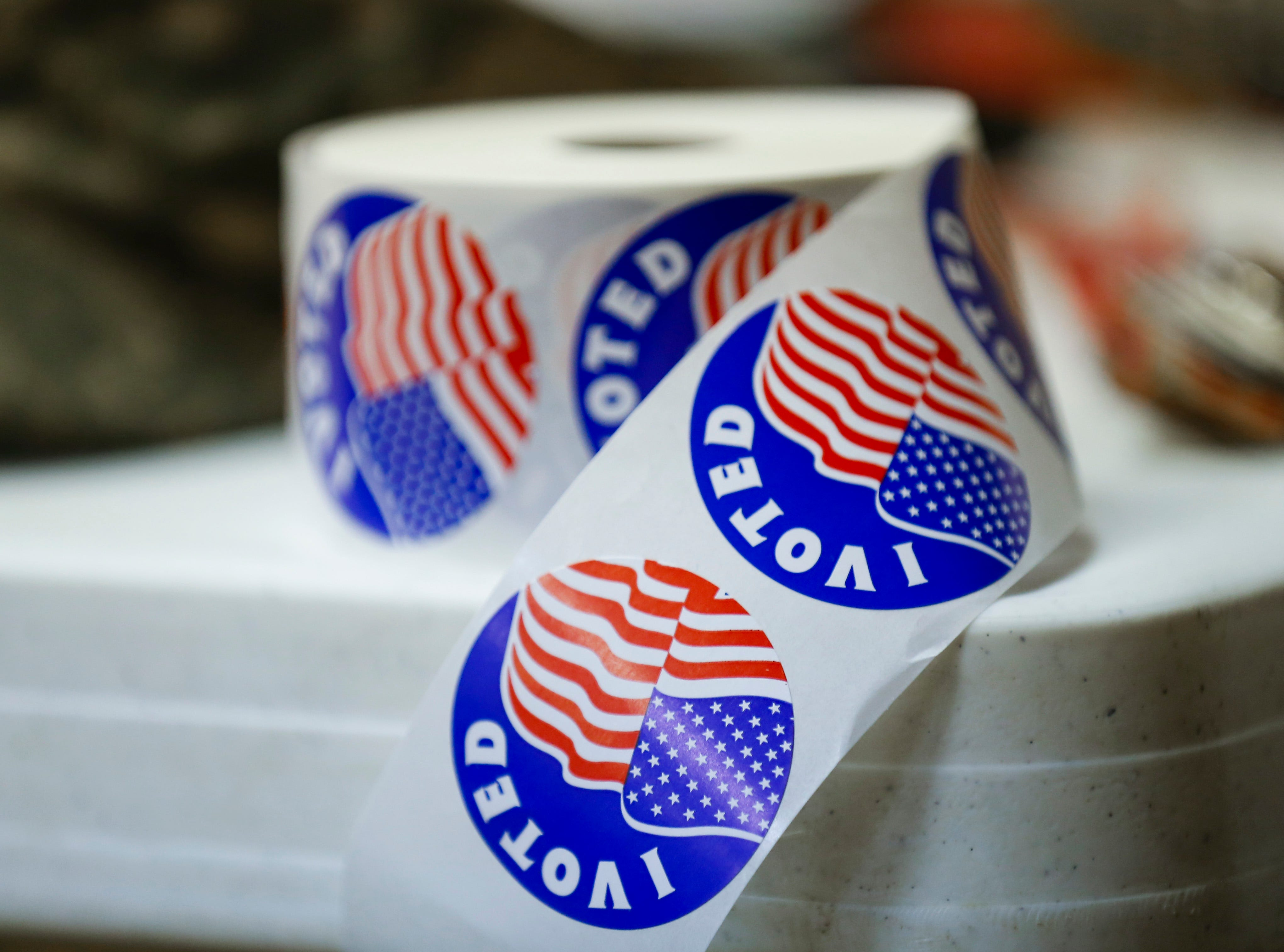 Voting stickers at the Woodland Heights polling location on Tuesday, Nov. 6, 2018.