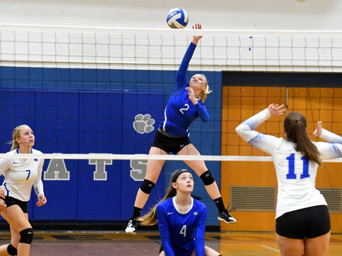 Fort Defiance's Ashley Humphries spikes the ball during a Region 3C semifinal match played in Lexington on Monday, Nov. 5, 2018.