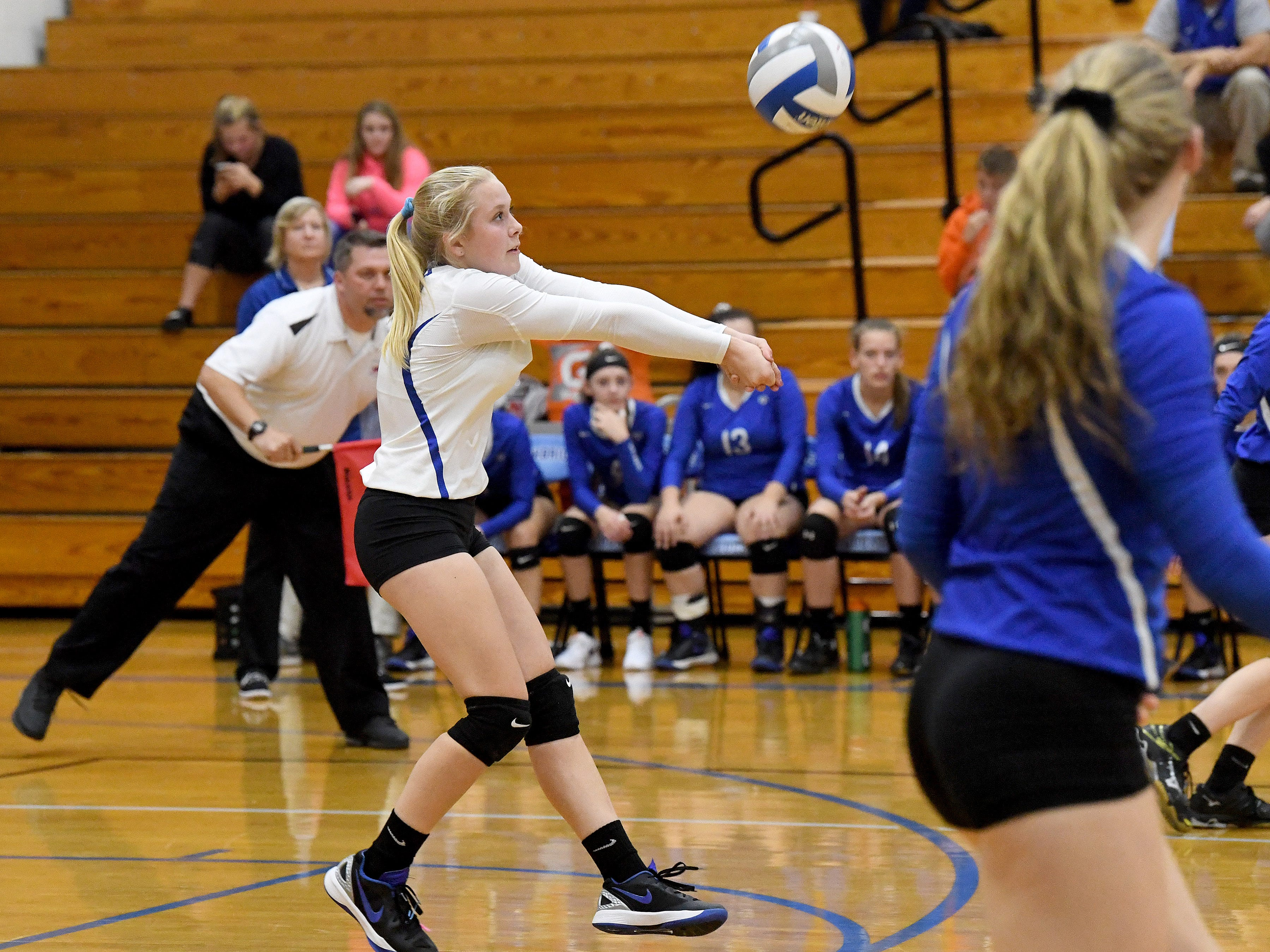 Fort Defiance's Jordan Schulz bumps the ball during a Region 3C semifinal match played in Lexington on Monday, Nov. 5, 2018.