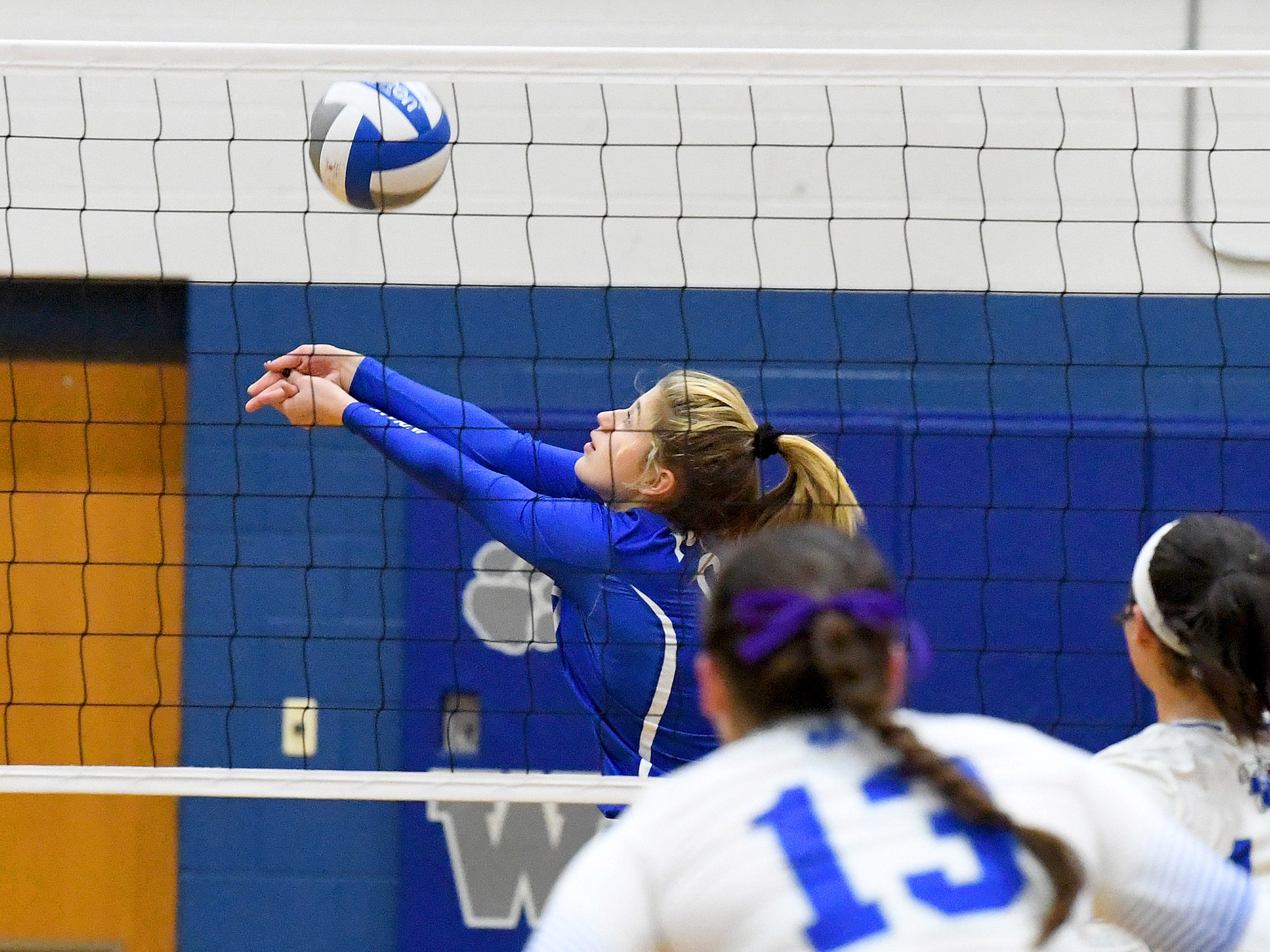 Fort Defiance's Jessi Hull bumps the ball during a Region 3C semifinal match played in Lexington on Monday, Nov. 5, 2018.