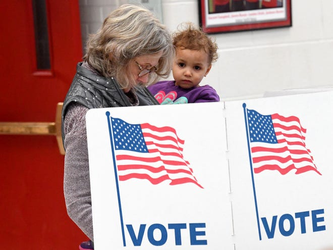 Two-year-old Nora Nadeem looks around as grandmother Riley Bernier of Greenville fills in her ballot while voting at the Greenville Precinct at Riverheads High School on Election Day, Tuesday, Nov. 6, 2018.