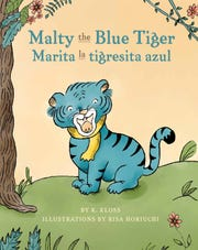 """The cover of """"Malty the Blue Tiger,"""" a dual-language children's book by Central Minnesota native Kelsey Kloss."""
