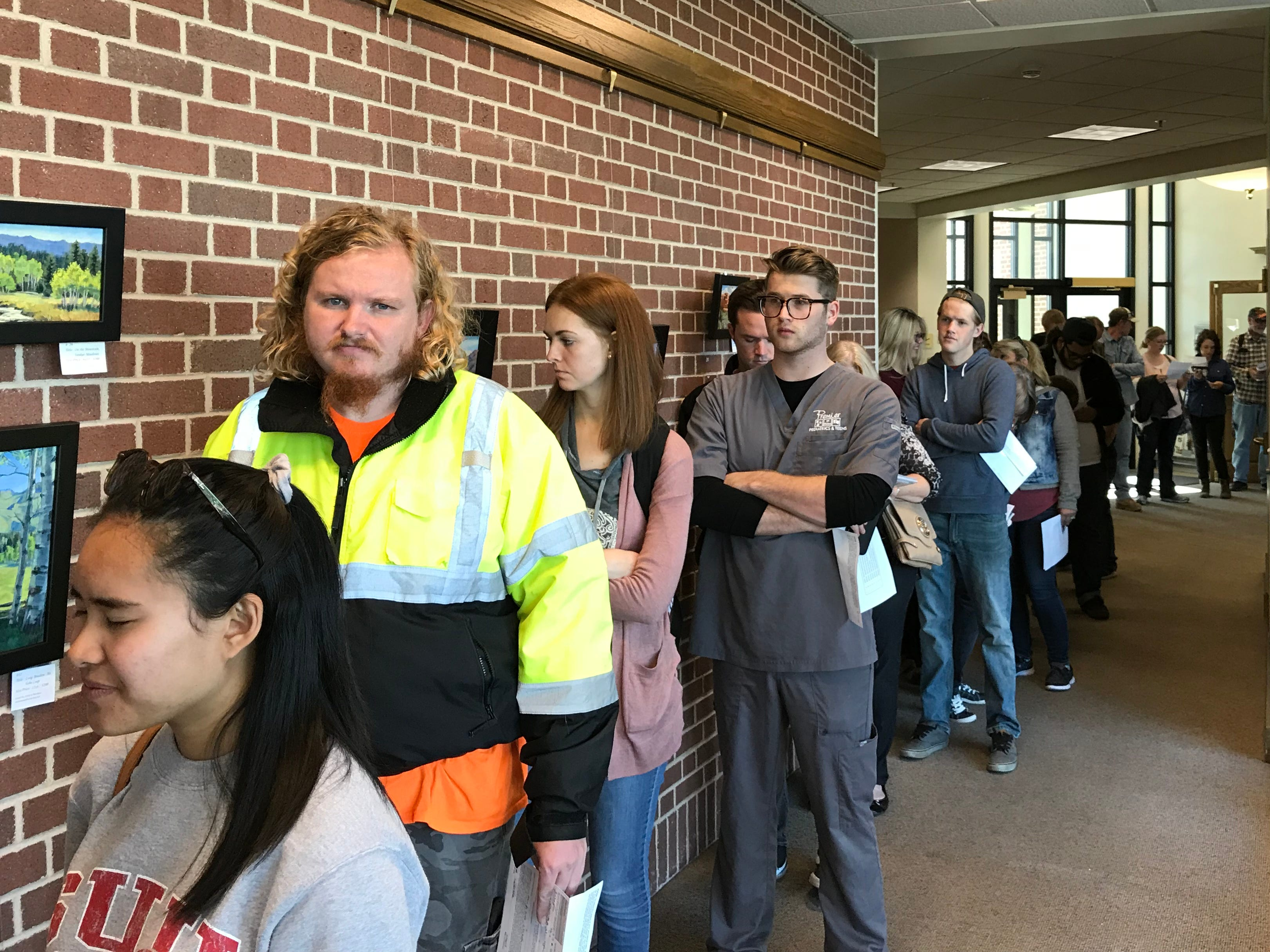 Voters line up at Cedar City Hall on Election Day, Nov. 6, 2018.