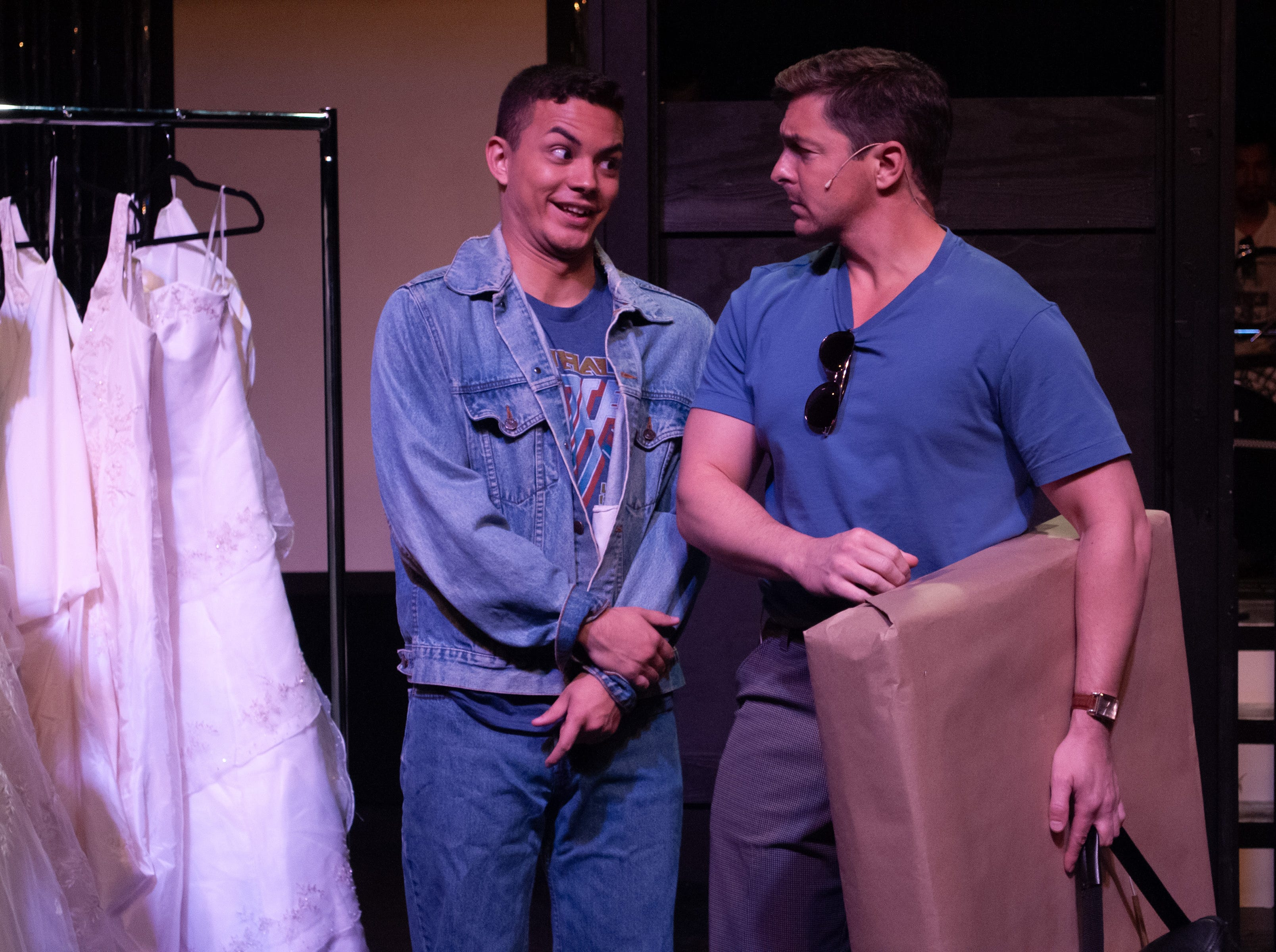"Robbie (Santos Sanchez) meets Julia's fiance Glenn (John Lipian) in Theatre Tallahassee's production of ""The Wedding Singer."""