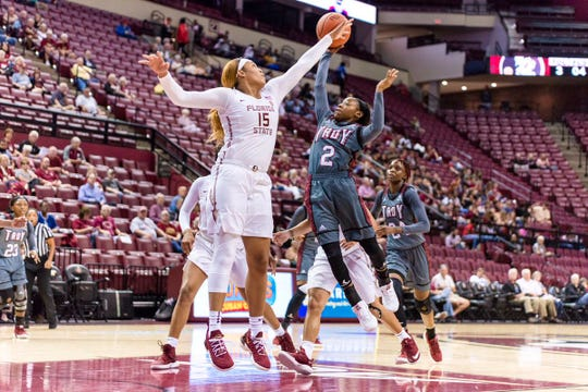 FSU forward Kiah Gillespie defends a shot in the Seminoles' win over the Troy Trojans on November 6, 2018.