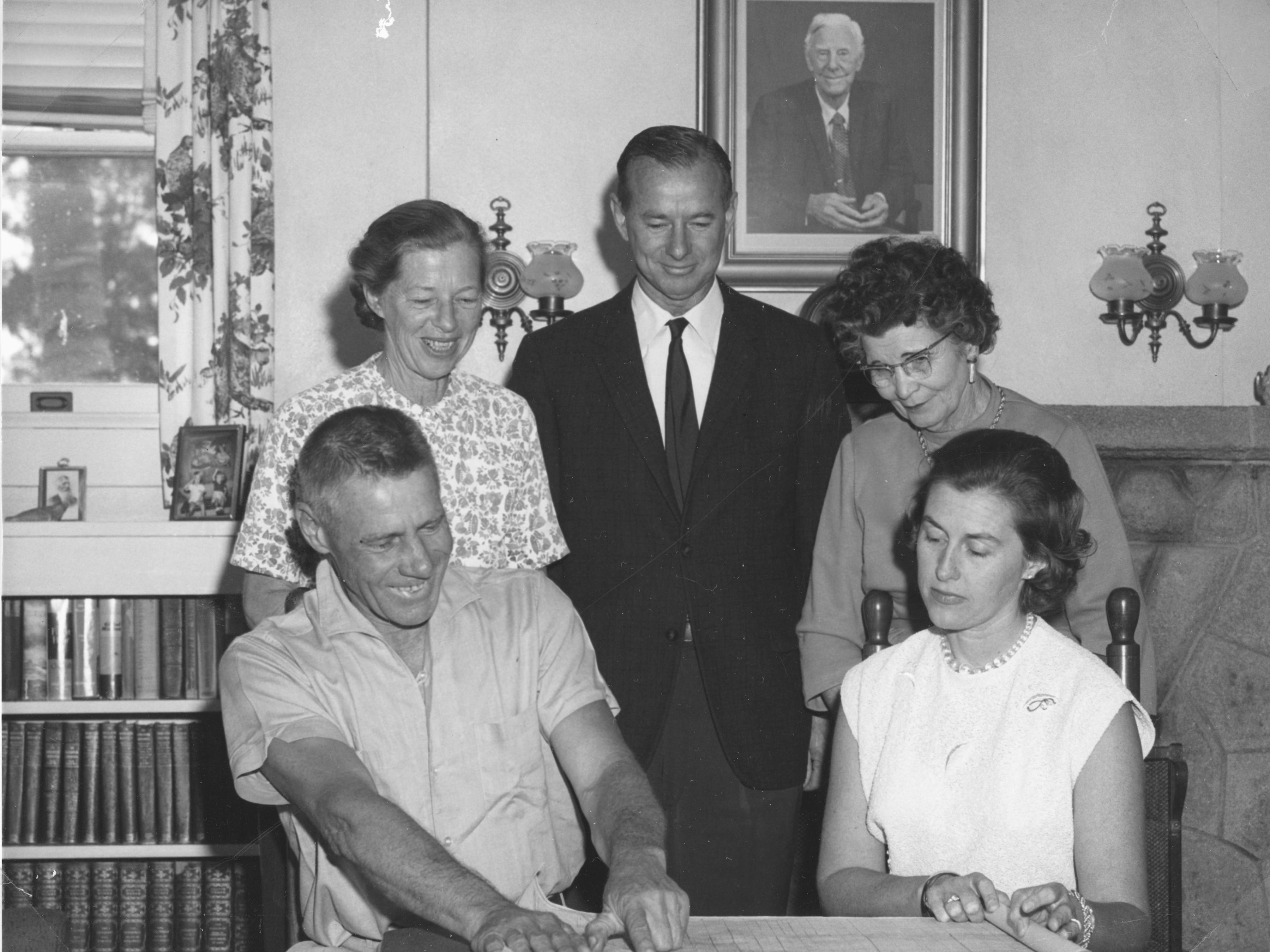 Standing from left is Jeannette Michael Lier, Joe Michael and Helen Kroegel Ryan, and seated from left is George Lier and Anne Michael during the incorporation of the town of Orchid ion May 12, 1965.