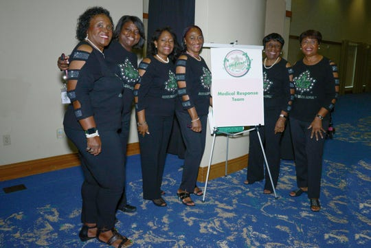 The Eta Eta Omega Medical Response team, from left, Bonita Williams, Tabatha Williams-Johnson, Dr. Juliette Lomax-Homier, Cassandra Hendley, Venda Burgess and Lillie Holt at the Alpha Kappa Alpha Sorority Cluster I conference in Port St. Lucie.