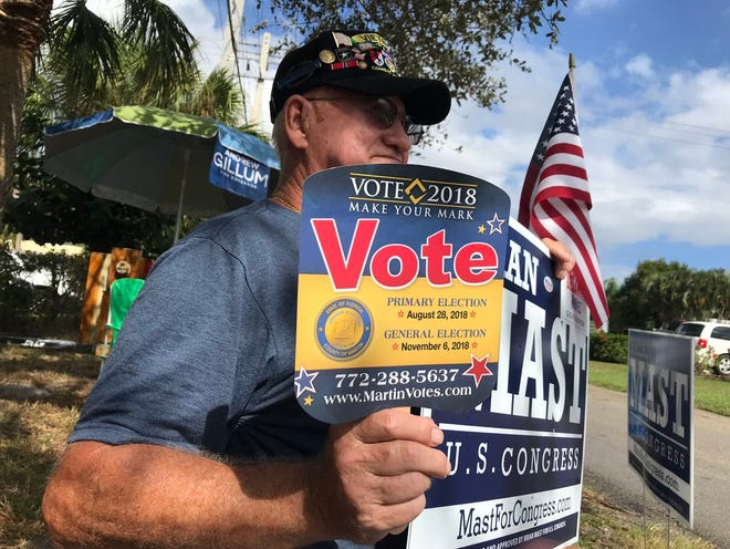 """Doesn't matter whether you're Republican or Democrat you need to get out and vote,"" said Wayne Kuster, a Vietnam veteran outside Precinct 7  during the midterm election 2018."