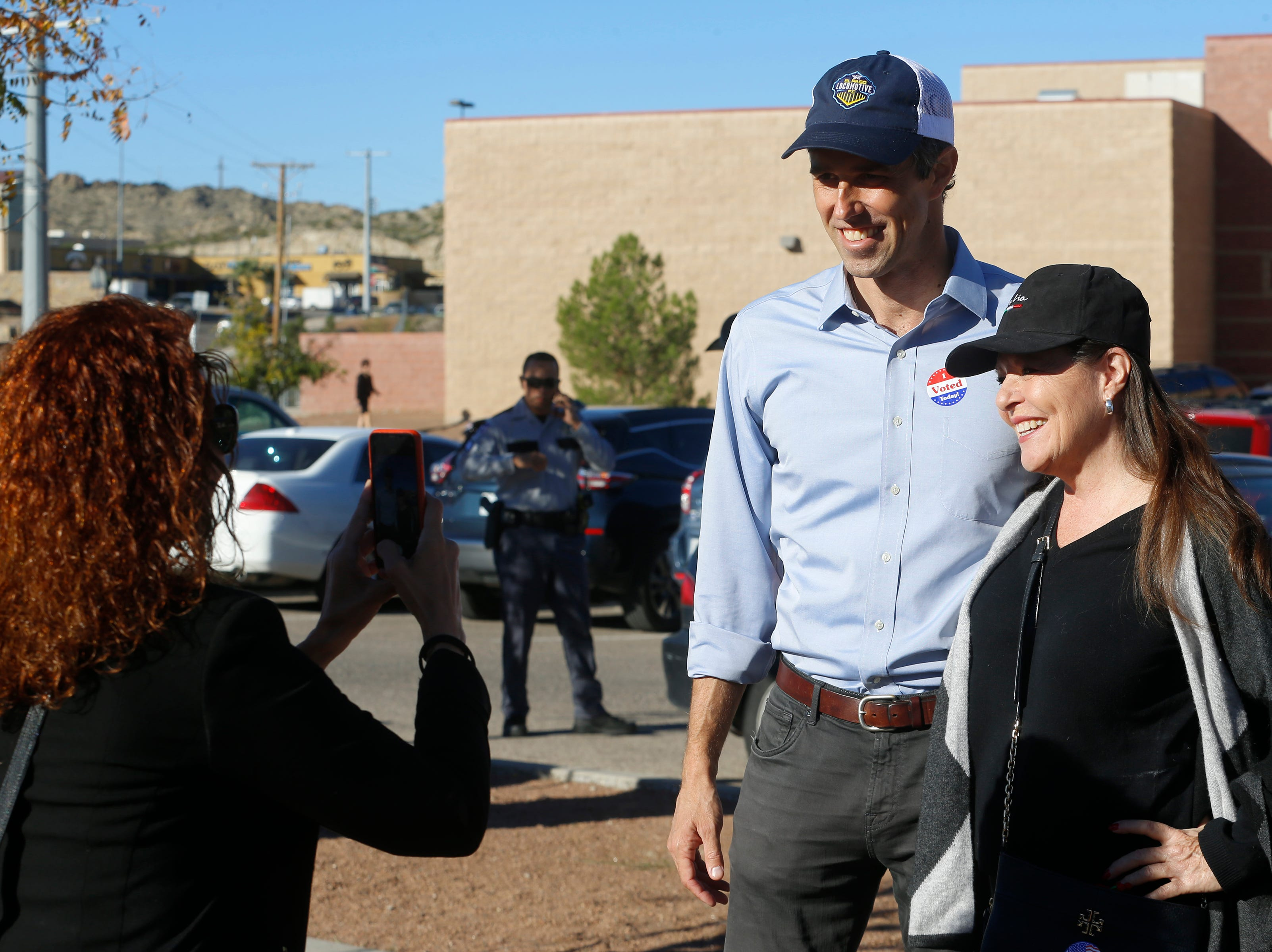 U.S. Rep. Beto O'Rourke, who is running to unseat Sen. Ted Cruz, stopped at Mesiat Elementary School to greet volunteers and voters early Tuesday morning. O'Rourke who earlier had walked from his Sunset Heights home in El Paso to vote at the El Paso Community College Rio Grande Campus, was all smiles as voters asked to tae pictures with him.