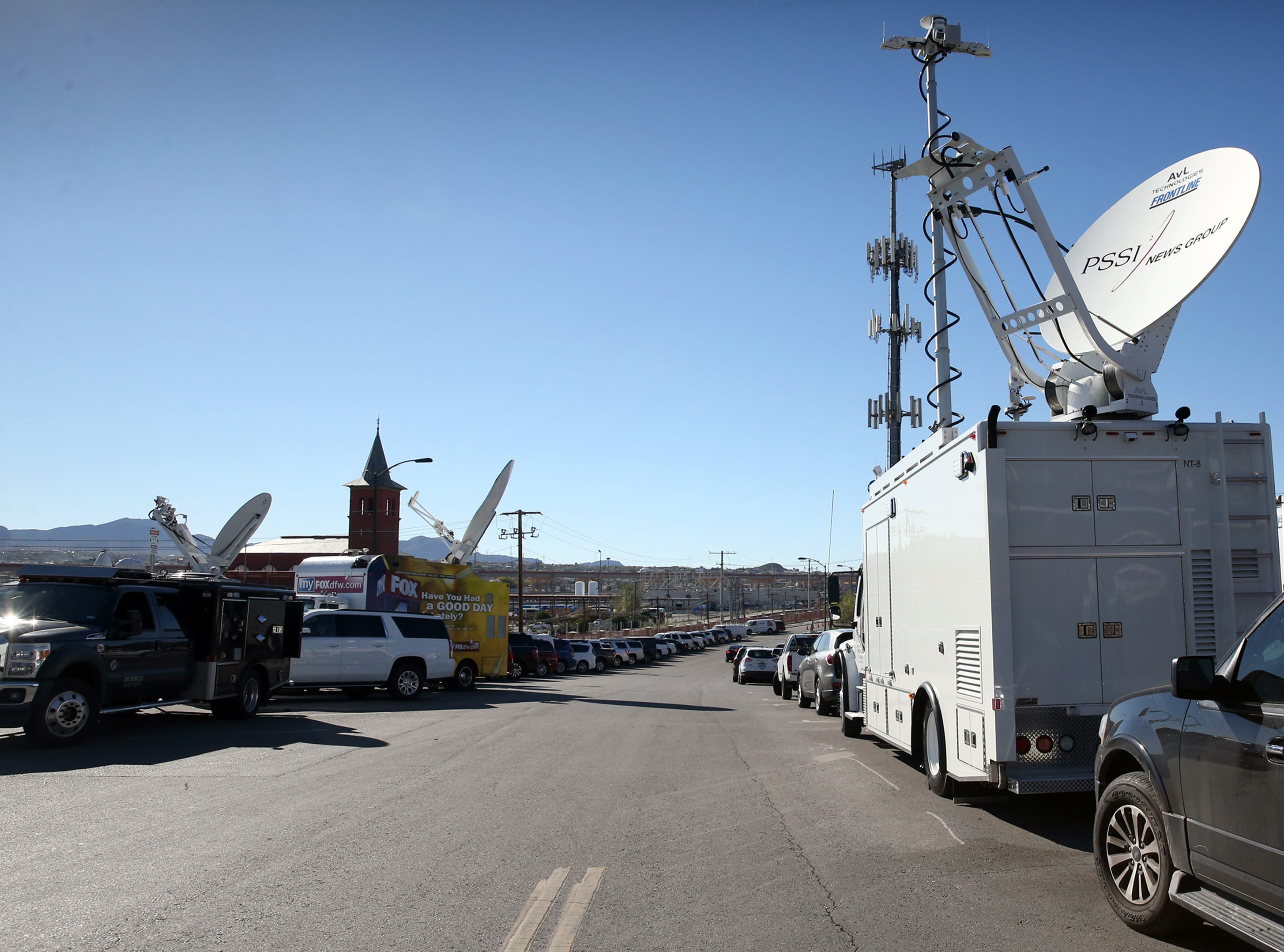 Satellite trucks from various news outlets mostly from Texas line the street outside the West entrance to Southwest University Park Tuesday where Democratic U.S. Senate candidate Beto O'Rourke will hold his election watch party.