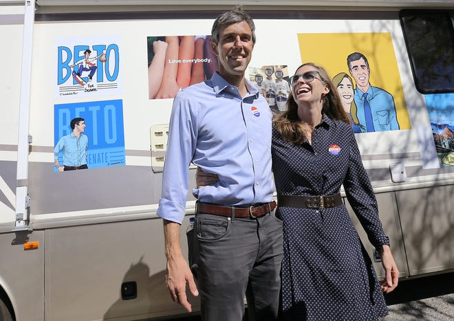Senate candidate Beto O'Rourke visits polling stations on election day Tuesday in El Paso. O'Rourke will hold his election night watch party at Southwest University Park.