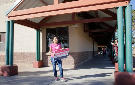Veronica Escobar who is running to replace Beto O'Rourke in the 16th Congressional Disctrict met with voters outside of Sierra Vista Elementary School in El Paso's eastside. A steady stream of voters were coming to the polls which included first time voters to veteran voters.