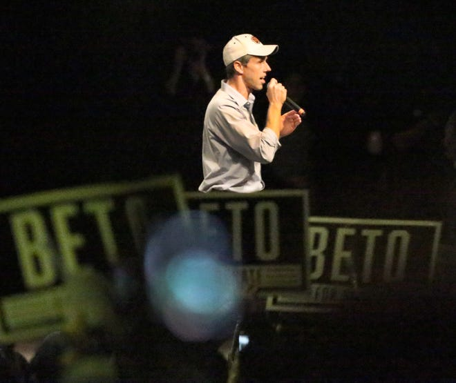 Democratic U.S. Senate candidate Beto O'Rourke speaks before a capacity crowd inside Magoffin Auditorium on the UTEP campus Monday night.