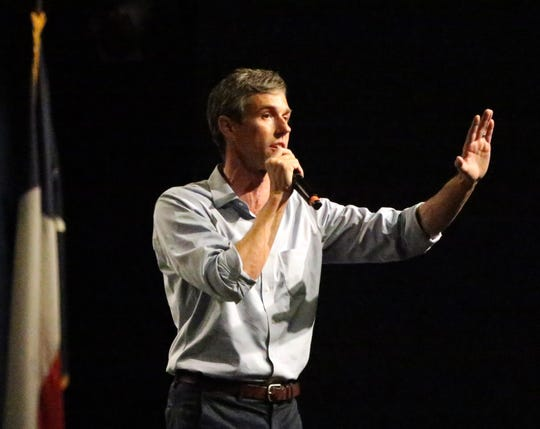 Democratic U.S. Senate candidate Beto O'Rourke speaks to a capacity crowd of supporters inside Magoffin Auditorium during his final campaign rally Monday night.