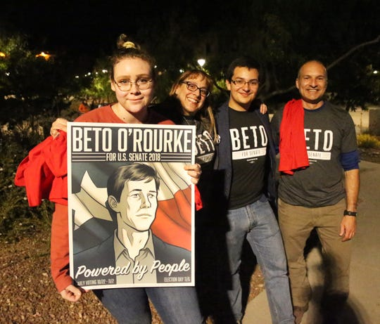 Supporters of Democratic U.S. Senate candidate Beto O'Rourke outside Magoffiin Audiorium on the UTEP campus were he went to speak Monday night. They are from left: Danielle Kutz, Sondie Skory, Armand Avila and John Skory.