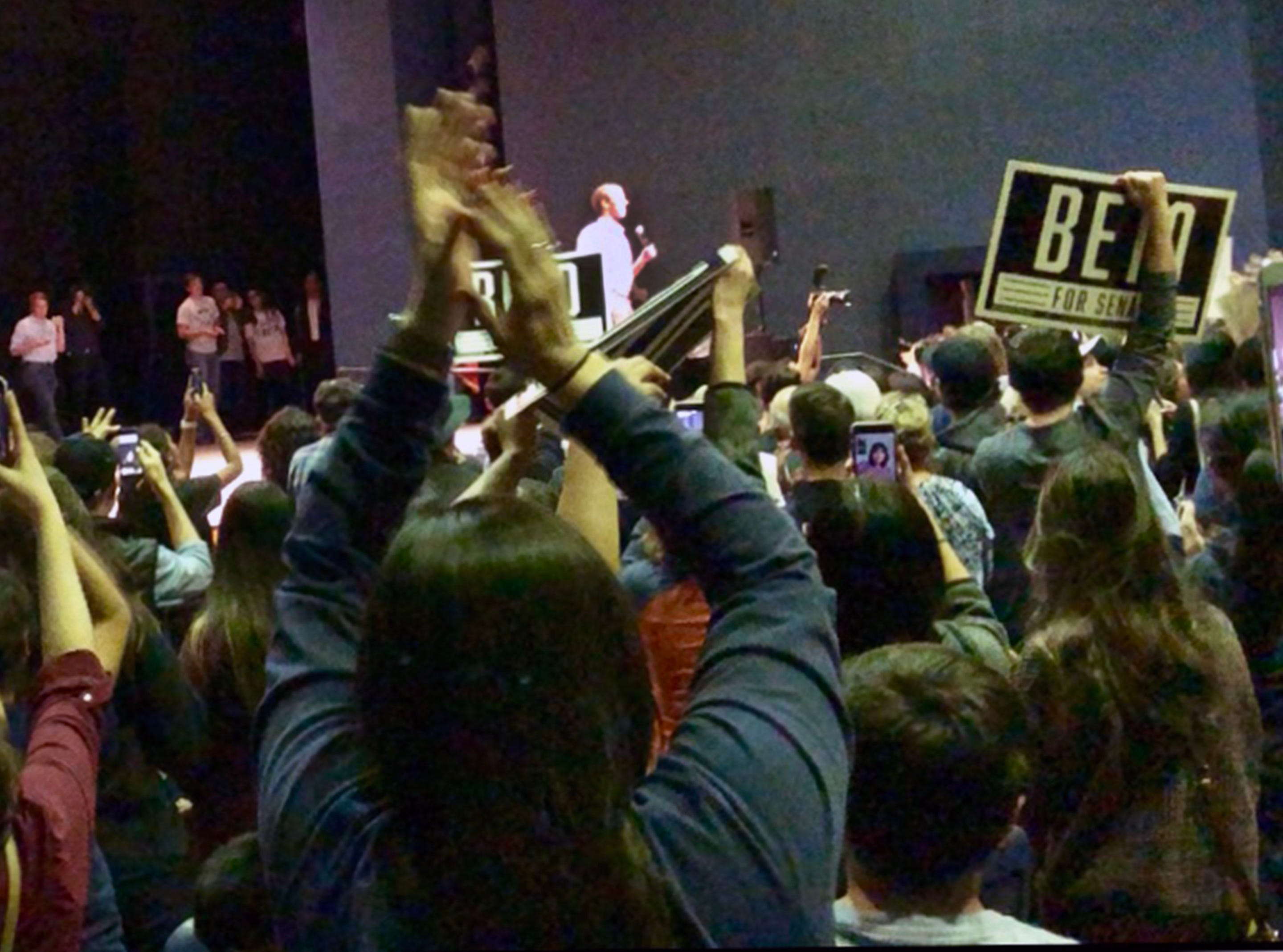 A capacity crowd welcomes Democratic U.S. Senate candidate Beto O'Rourke into Magoffin Auditorium Monday night.