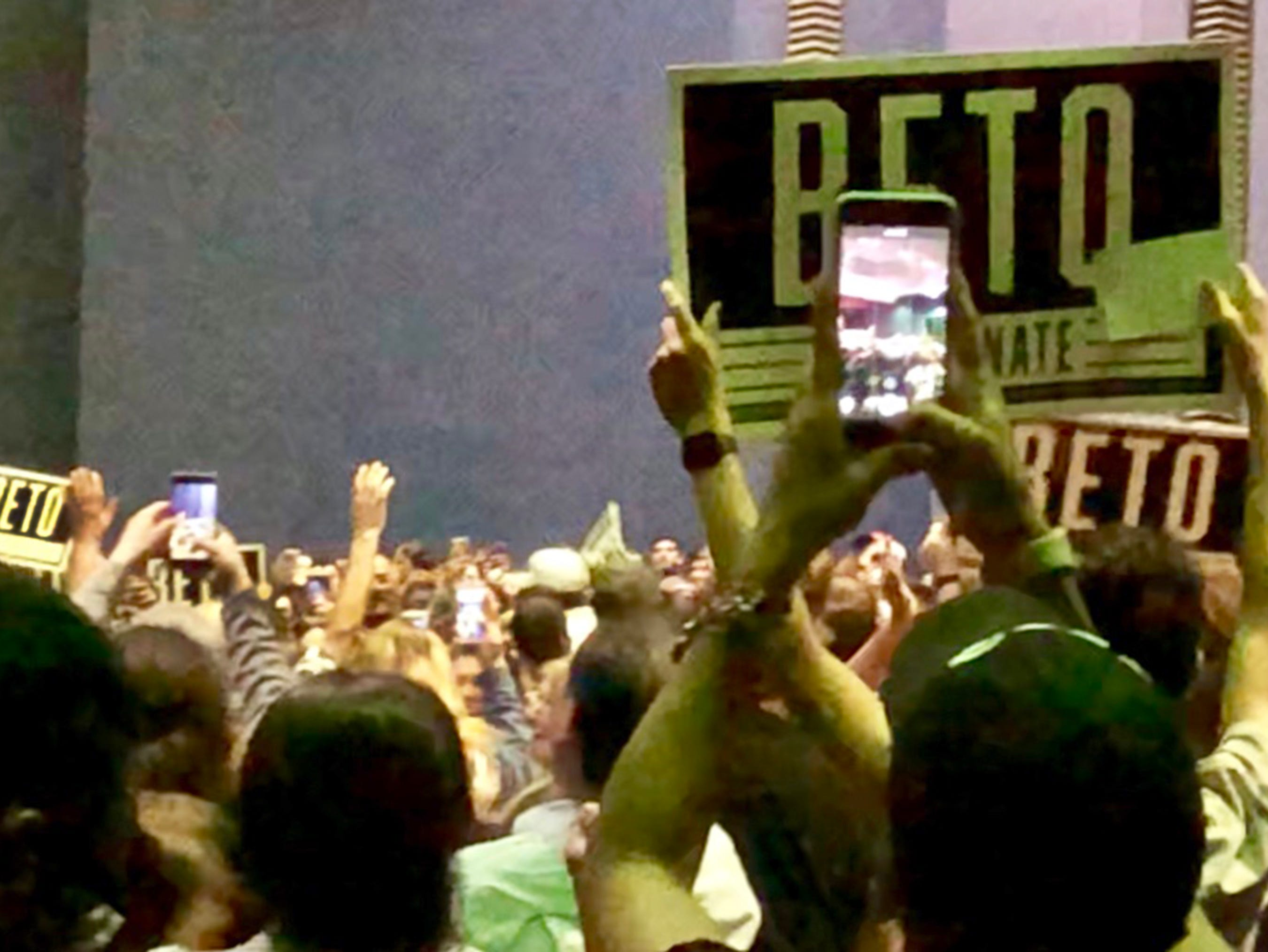 A capacity crowd cheers as Democratic U.S. Senate candidate Beto O'Rourke enters Magoffin Auditorium on the UTEP campus for a rally Monday night.