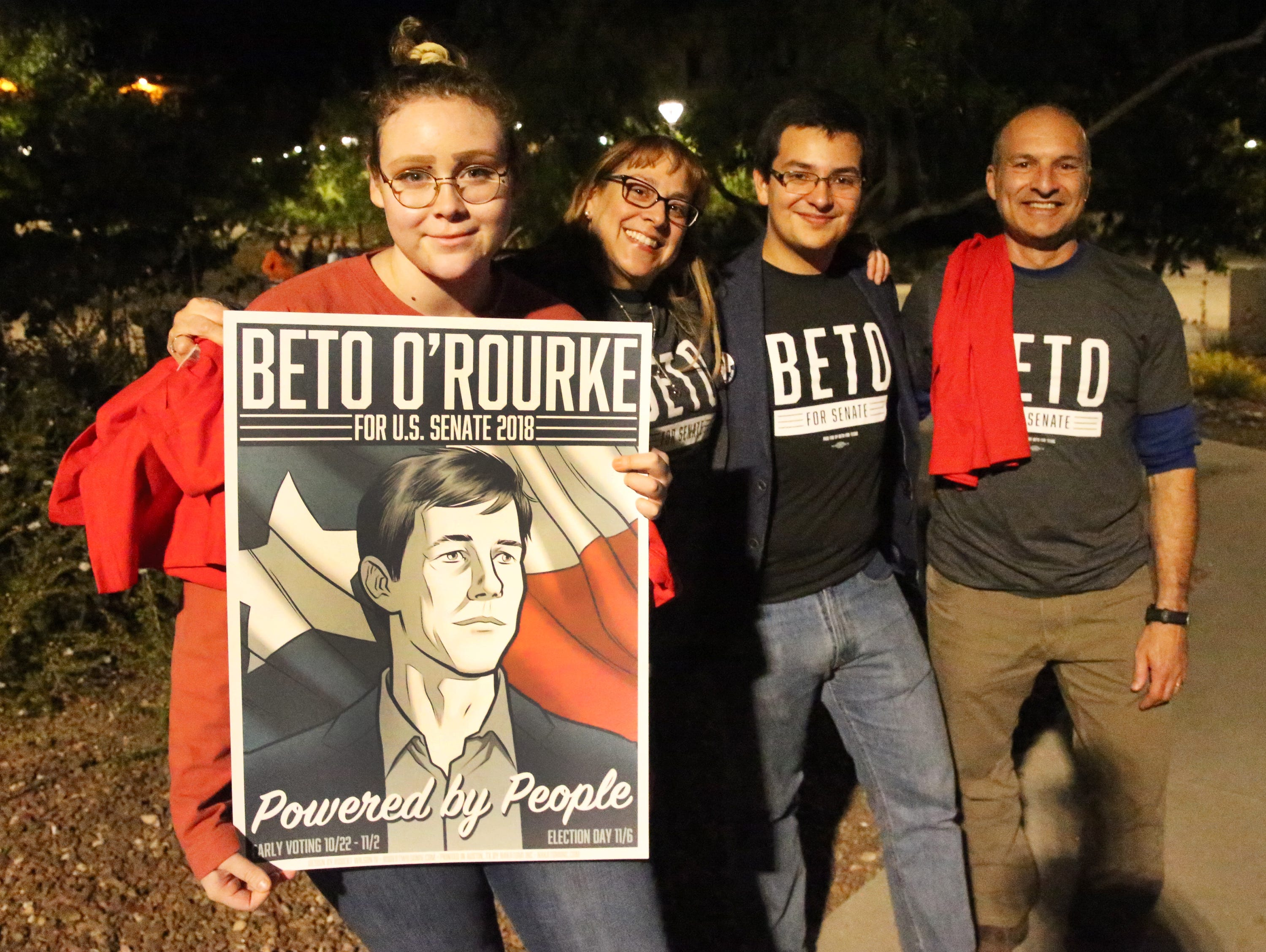 Supporters of Democratic U.S. Senate candidate Beto O'Rourke outside Magoffiin Auditorium were he want to speak Monday night. They are from left: Danelle Kutz, Sondie Skory, Armand Avila and John Skory.