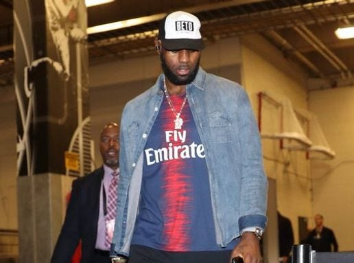 "LeBron James made a statement with his ""Beto"" hat while arriving at the AT&T Center in San Antonio."
