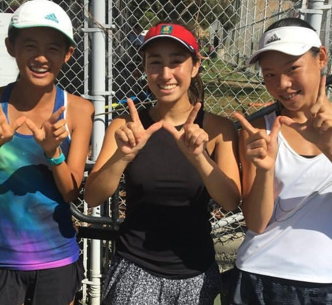 Essence Wang (left to right), Emma Victor and Emma Sun have helped Westlake reach the Division 1 girls tennis semifinals.