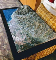 This relief map Dick Dodd made of the Ventura area is now on display at the Ventura College library